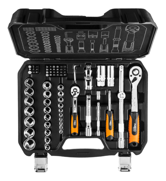 Zestaw kluczy nasadowych 1/2″ i 1/4″ NEO – 73 elementów