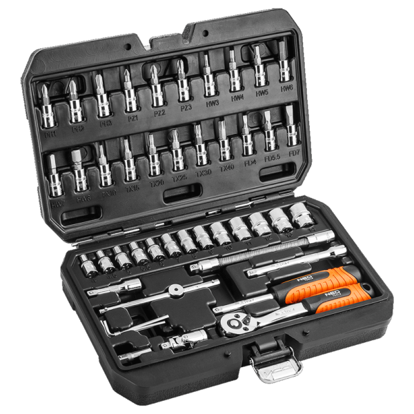 Neo tools – Zestaw kluczy nasadowych 1/4″ NEO – 46 elementów